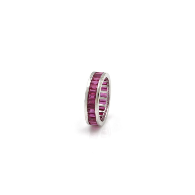 Eternity 18K WHITE GOLD 2.56 CTW BAGUETTE RED RUBY ETERNITY BAND CHANNEL SET #1020B-4