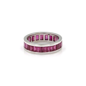 18K WHITE GOLD 2.56 CTW BAGUETTE RED RUBY ETERNITY BAND CHANNEL SET #1020B-4