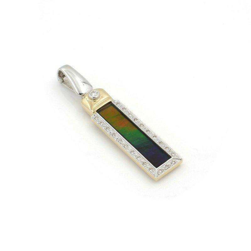 Unbranded 18K YELLOW GOLD AMMOLITE ROUND BRILLIANT DIAMOND RECTANGULAR PENDANT #J958-6