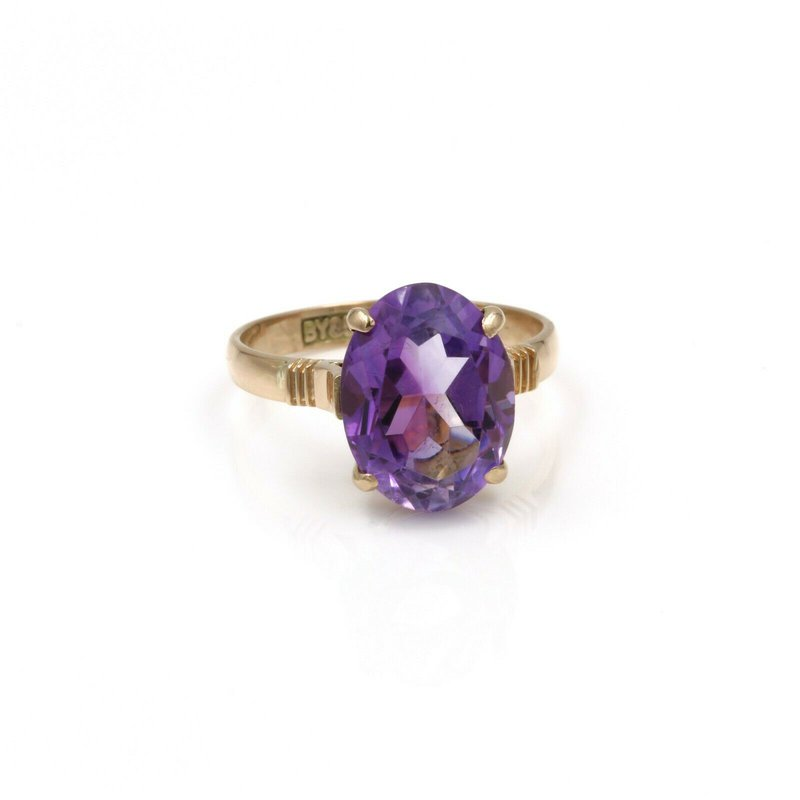 National Rarities VINTAGE 14K GOLD & 4.04 CTW OVAL PURPLE AMETHYST COCKTAIL RING SIZE 6.5 #998B-7