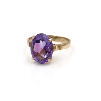 VINTAGE 14K GOLD & 4.04 CTW OVAL PURPLE AMETHYST COCKTAIL RING SIZE 6.5 #998B-7