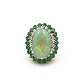 14K GOLD 12.49 CT NATURAL OPAL 1.32 CTW DIAMOND AND EMERALD COCKTAIL RING #E-66