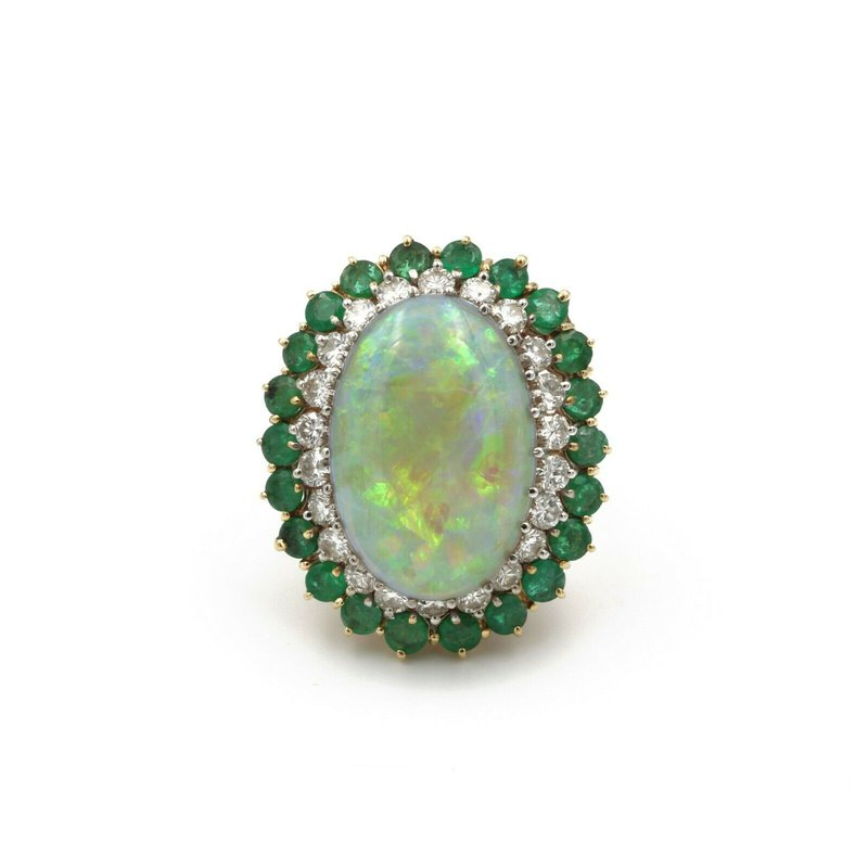 National Rarities 14K GOLD 12.49 CT NATURAL OPAL 1.32 CTW DIAMOND AND EMERALD COCKTAIL RING #E-66