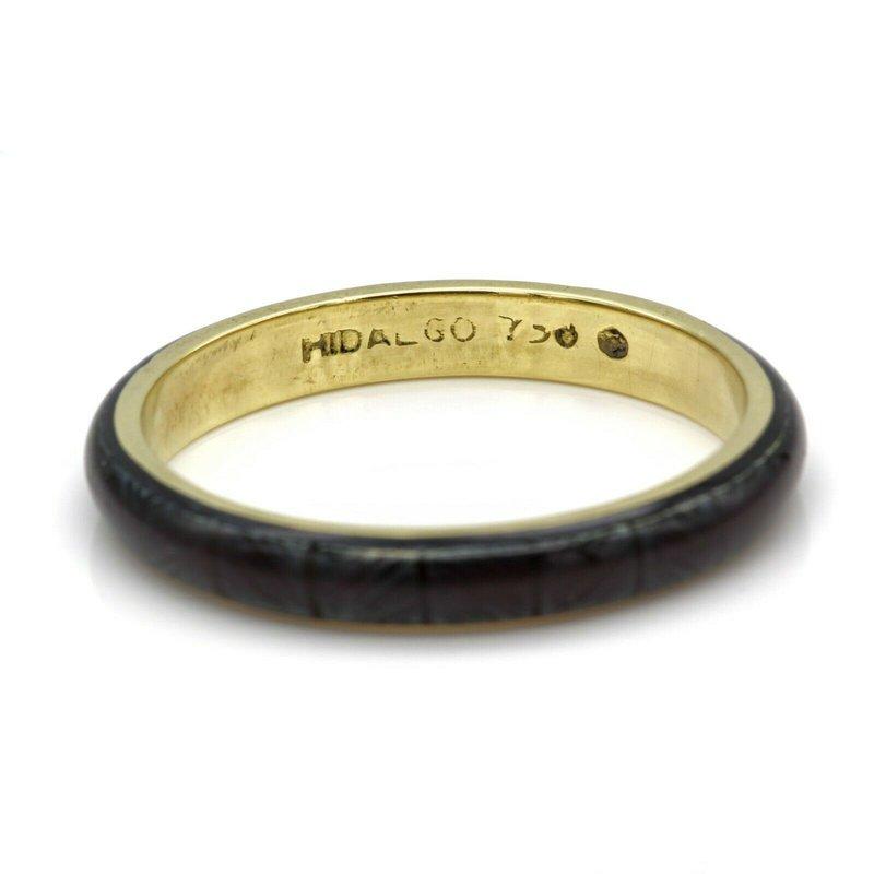 Hidalgo HIDALGO 18K SOLID GOLD TEAL/BLUE ENAMEL 2.9 MM STACKABLE BAND SIZE 6.5 #1027B-8