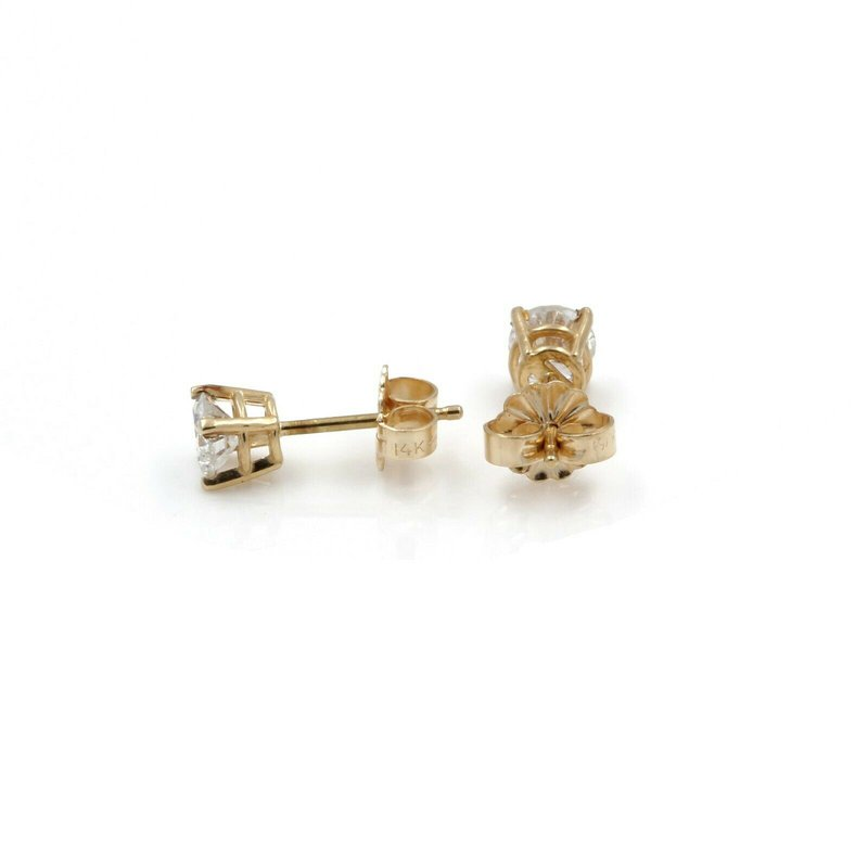 National Rarities BEAUTIFUL 14K SOLID GOLD 0.70 CTW F-G COLOR I2 DIAMOND STUD EARRINGS #J2-6