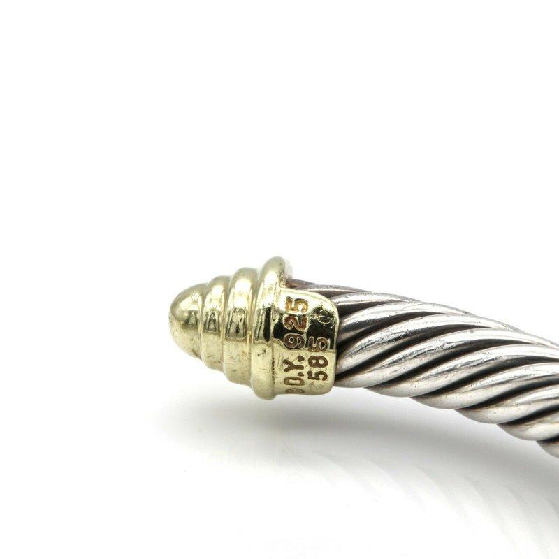 David Yurman DAVID YURMAN THOROUGHBRED CABLE CUFF BRACELET 14K GOLD STERLING SILVER D100-2