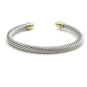 DAVID YURMAN THOROUGHBRED CABLE CUFF BRACELET 14K GOLD STERLING SILVER D100-2