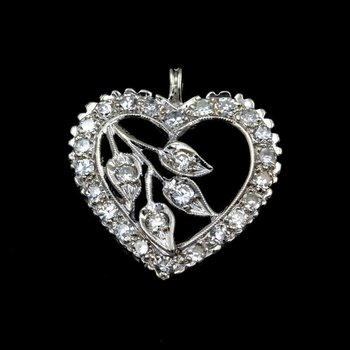 STUNNING 14K WHITE GOLD .80 CTTW DIAMOND HEART PENDANT- 965B-6