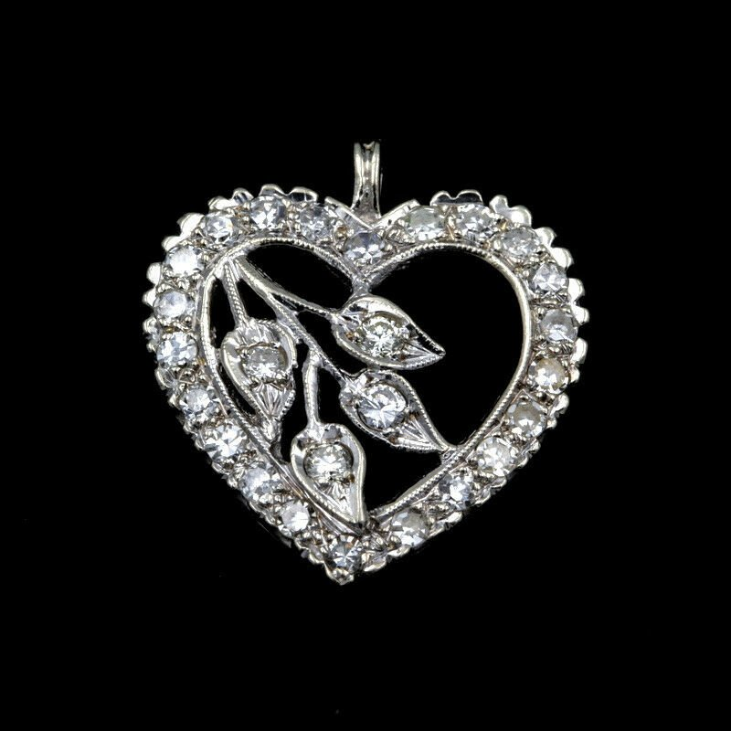 Unbranded STUNNING 14K WHITE GOLD .80 CTTW DIAMOND HEART PENDANT- 965B-6