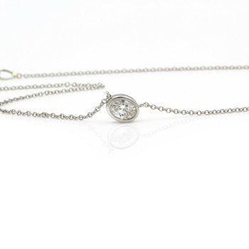 18K WHITE GOLD OVAL BRILLIANT DIAMOND BEZEL SET PENDANT 14 INCH NECKLACE #JB74-5