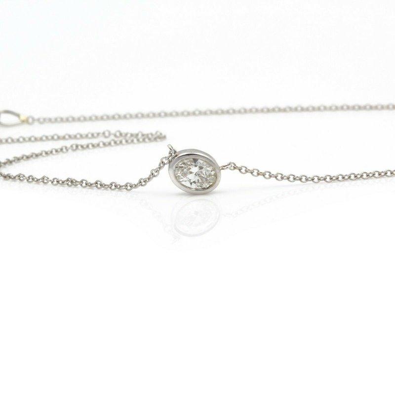 Unbranded 18K WHITE GOLD OVAL BRILLIANT DIAMOND BEZEL SET PENDANT 14 INCH NECKLACE #JB74-5