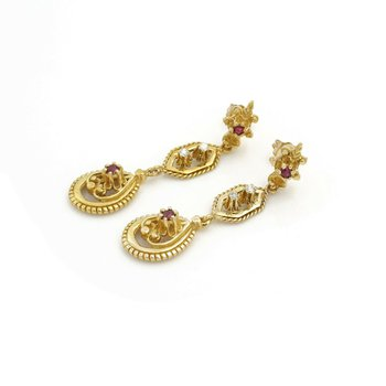 ANTIQUE 14K YELLOW GOLD ROUND CUT RUBY & DIAMOND DROP/DANGLE EARRINGS #J2284-2
