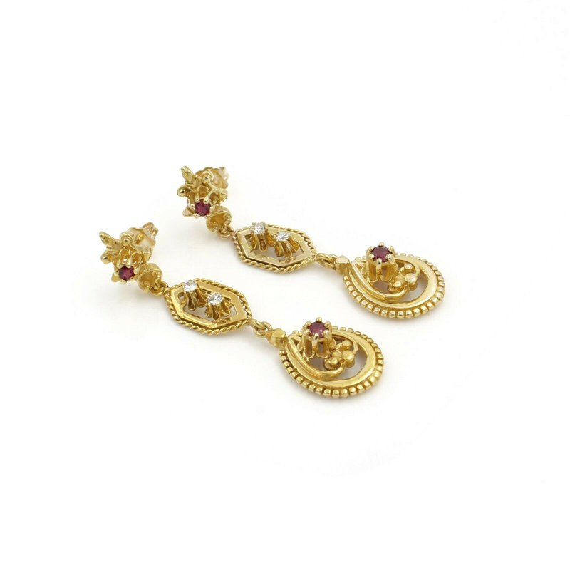 National Rarities ANTIQUE 14K YELLOW GOLD ROUND CUT RUBY & DIAMOND DROP/DANGLE EARRINGS #J2284-2