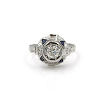 14K WHITE GOLD 0.85 CTW EURO CUT DIAMOND & SAPPHIRE ART DECO RING SIZE 5 #986B-5