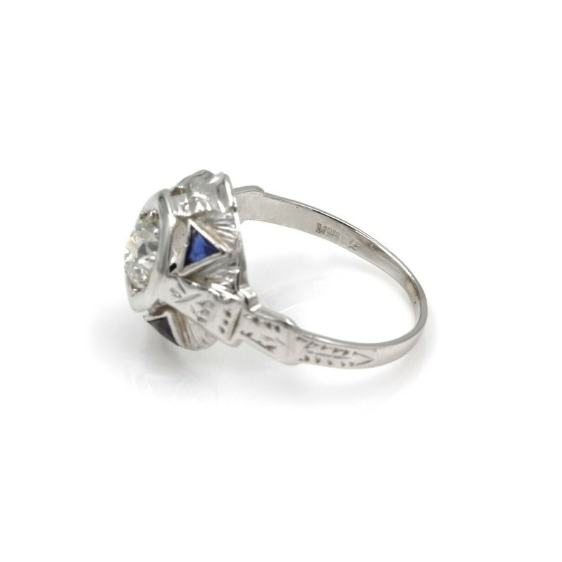 National Rarities 14K WHITE GOLD 0.85 CTW EURO CUT DIAMOND & SAPPHIRE ART DECO RING SIZE 5 #986B-5
