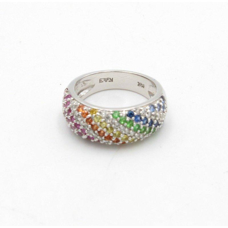 Effy EFFY 14K WHITE GOLD PAVE MULTICOLORED ROUND SAPPHIRES DIAMOND RING SIZE 7 D5-8