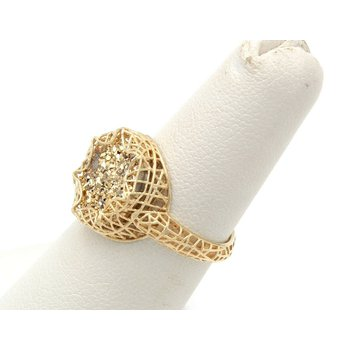 14K YELLOW GOLD WIRED DESIGN ROUND GOLD DRUZY QUARTZ RING SIZE 5.50 #JB30-6