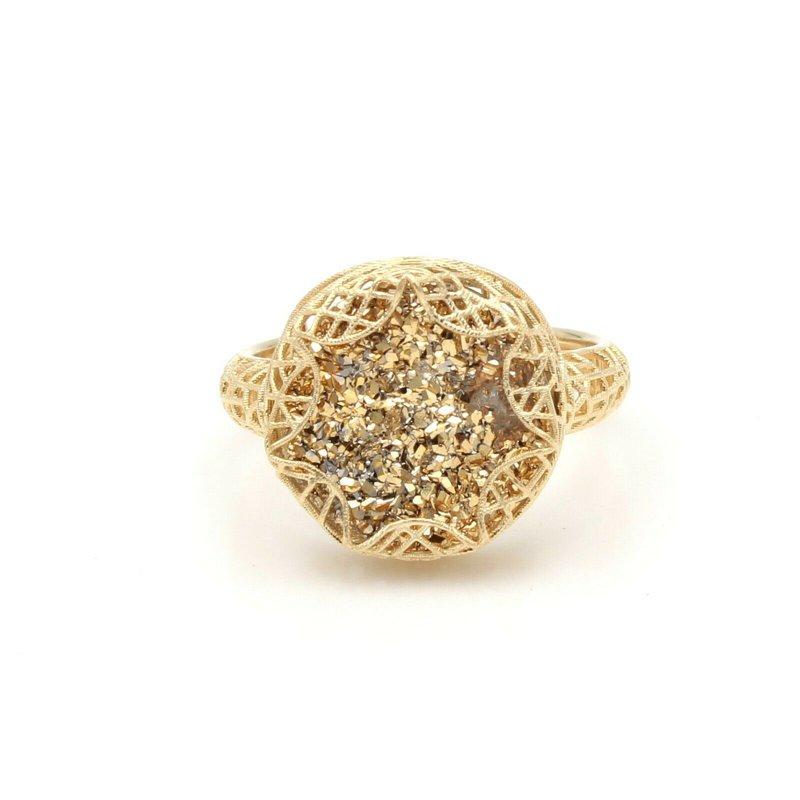 Unbranded 14K YELLOW GOLD WIRED DESIGN ROUND GOLD DRUZY QUARTZ RING SIZE 5.50 #JB30-6