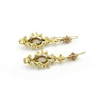 ANTIQUE VICTORIAN 12K YELLOW GOLD DROP/DANGLE OPAL CABOCHON EARRINGS #J2272-5