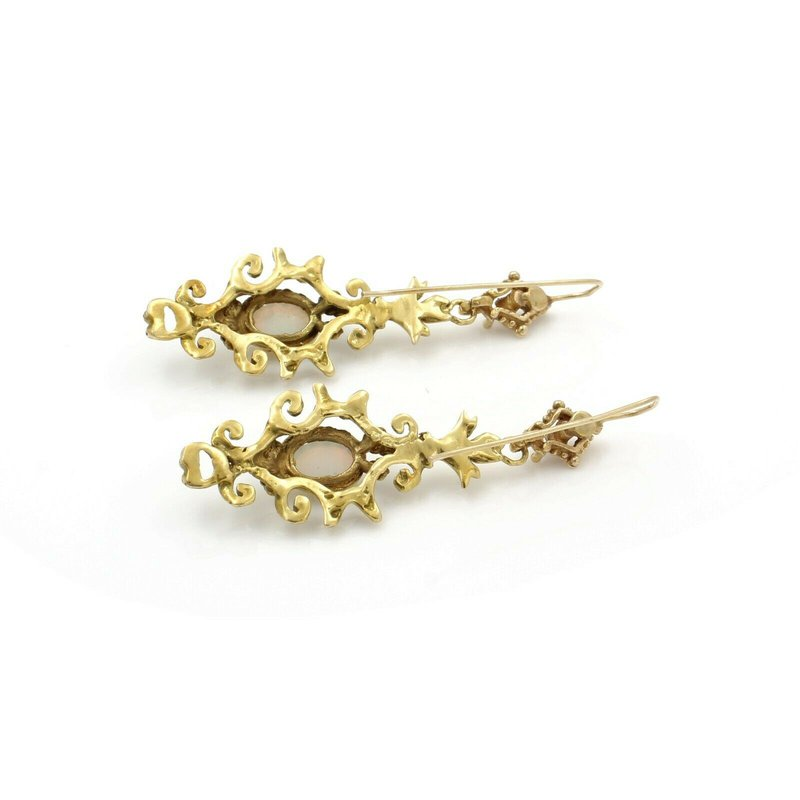 Antique ANTIQUE VICTORIAN 12K YELLOW GOLD DROP/DANGLE OPAL CABOCHON EARRINGS #J2272-5
