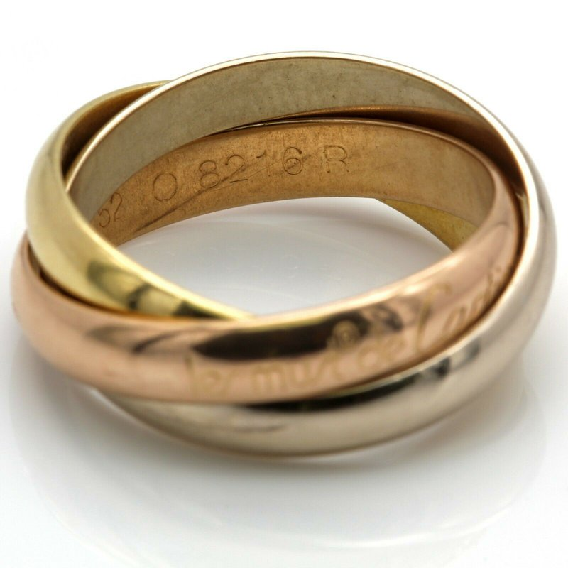 Cartier CARTIER 18K TRI-COLORED GOLD TRINITY ROLLING RING SIZE 5.5 DESIGNER D1392-4
