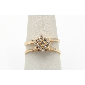 14K YELLOW GOLD TANZANITE AND DIAMOND CONVERTIBLE RING SIZE 7.50 #JB30-8