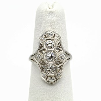 18K/14K WHITE GOLD 1.20 CTW OLD EURO ROUND BRILLIANT DIAMOND SHIELD RING 1016B-6