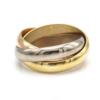 CARTIER 18K YELLOW ROSE WHITE GOLD CLASSIC ROLLING TRINITY RING SIZE 3 #D7-4