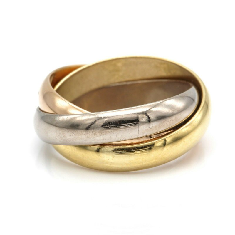 Cartier CARTIER 18K YELLOW ROSE WHITE GOLD CLASSIC ROLLING TRINITY RING SIZE 3 #D7-4