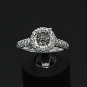PLATINUM HALO SETTING WITH .75 CTW ACCENT DIAMONDS FITS UP TO 7.25 MM #JB43-6