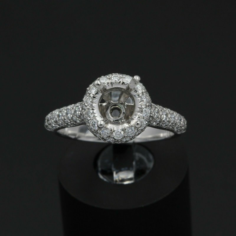 National Rarities PLATINUM HALO SETTING WITH .75 CTW ACCENT DIAMONDS FITS UP TO 7.25 MM #JB43-6