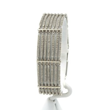 "14K WHITE GOLD 5.2 CTW DIAMOND MULTI ROW BAR STATION LINK BRACELET 7"" #1003B-10"