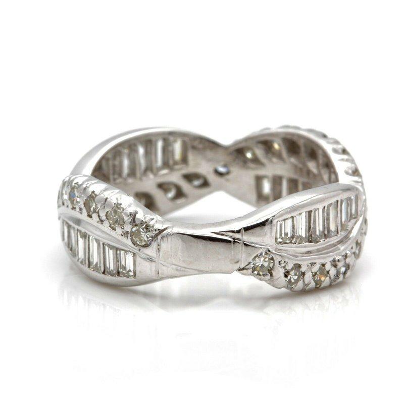 National Rarities PLATINUM DIAMOND BAGUETTE SINGLE CUT ROUND WRAP RING SIZE 8 2.08CTW #JB41-8