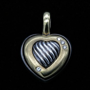 DAVID YURMAN CABLE HEART PENDANT 18K GOLD STERLING SILVER DIAMONDS .12 TCW NR