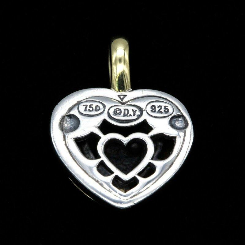David Yurman DAVID YURMAN CABLE HEART PENDANT 18K GOLD STERLING SILVER DIAMONDS .12 TCW NR