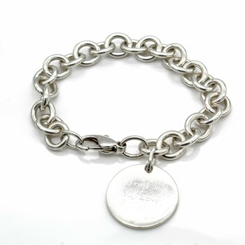 TIFFANY & CO STERLING SILVER PLEASE RETURN TO TAG CHARM BRACELET SIZE 7 #1019B-9
