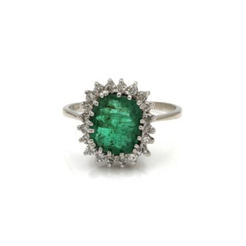 10K WHITE GOLD 3.0 CTW ANTIQUE CUSHION CUT EMERALD & DIAMOND HALO RING #1020B-2