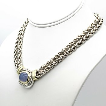 DAVID YURMAN CHALCEDONY DOUBLE WHEAT ALBION NECKLACE SS .925 14K GOLD #1017B-9