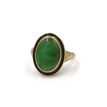 14K YG VINTAGE ART DECO FILIGREE JADEITE COCKTAIL RING BLACK ENAMEL  1032B-4