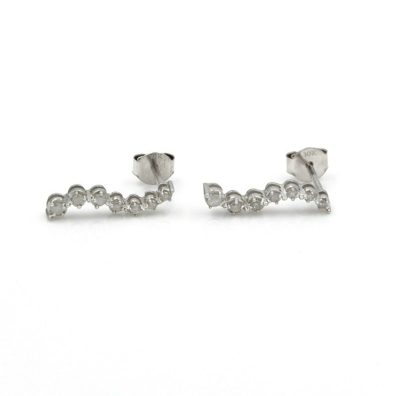 National Rarities 10K WHITE GOLD ROUND BRILLIANT DIAMOND JOURNEY EARRINGS S SHAPED 0.20 CTW J1-4
