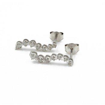 10K WHITE GOLD ROUND BRILLIANT DIAMOND JOURNEY EARRINGS S SHAPED 0.20 CTW J1-4