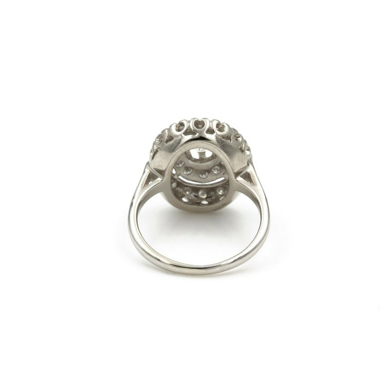 National Rarities OLD EUROPEAN DIAMOND IN DOUBLE ROW HALO 14K WHITE GOLD RING .86 CTW SZ 5.75 E-76