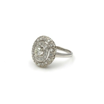 OLD EUROPEAN DIAMOND IN DOUBLE ROW HALO 14K WHITE GOLD RING .86 CTW SZ 5.75 E-76