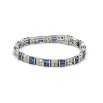 VINTAGE 18K WHITE GOLD 16.58 CTW BAGUETTE SAPPHIRE ROUND DIAMOND BRACELET #E-248