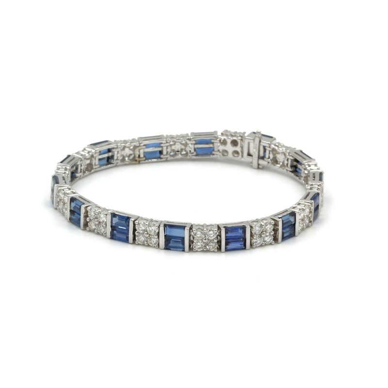 National Rarities VINTAGE 18K WHITE GOLD 16.58 CTW BAGUETTE SAPPHIRE ROUND DIAMOND BRACELET #E-248