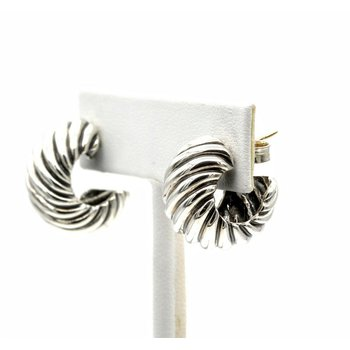 DAVID YURMAN CABLE CLASSICS HOOPS STERLING SILVER .925 POST EARRINGS #1017B-4
