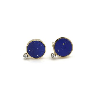 14K YELLOW GOLD LAPIS LAZULI BLUE ROUND DISK STUD EARRINGS W/ DIAMONDS 1034B-9