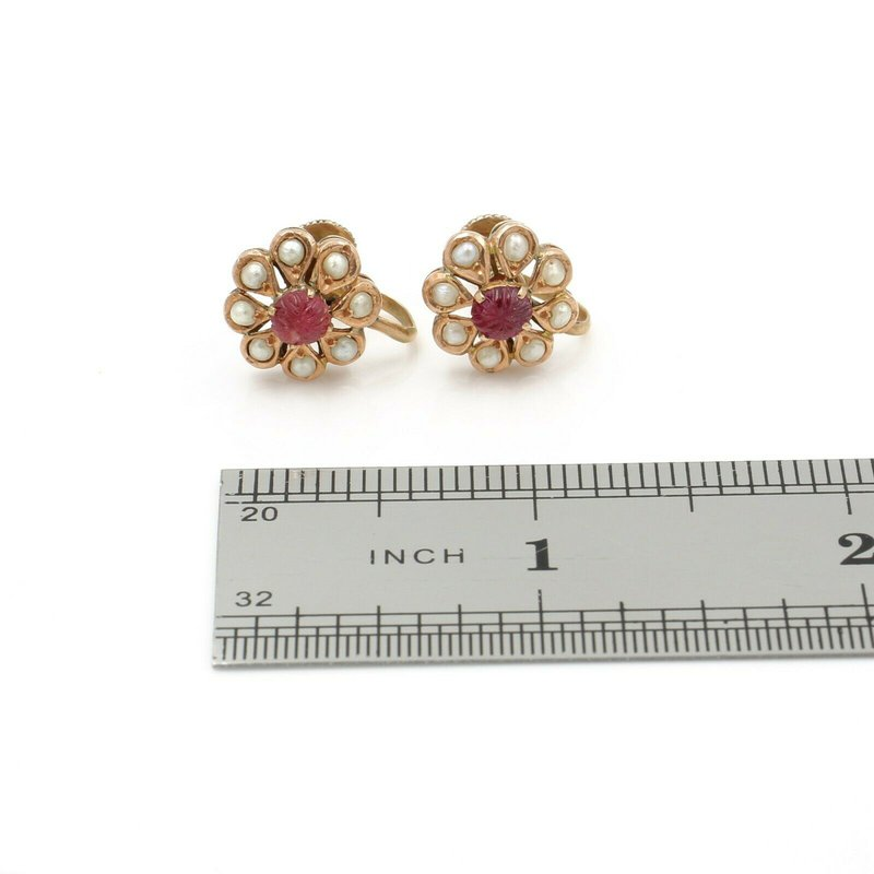 Antique ANTIQUE VICTORIAN 10K ROSE GOLD CARVED RUBY SEED PEARL FLORAL EARRINGS #JB61-1