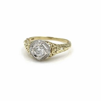 14K SOLID GOLD 0.47 CT ROUND H, VS2 DIAMOND FILIGREE RING SIZE 6.5 #1036B-1