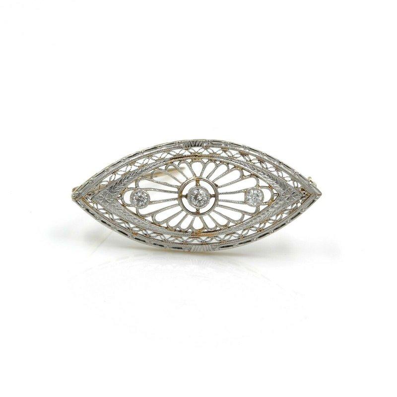 National Rarities ART DECO 14K YELLOW GOLD RHODIUM FILIGREE .22 CTW OLD EURO DIAMOND PIN #973B-6